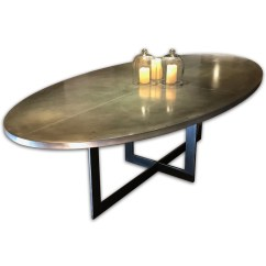 Zinc Kitchen Table Remodel Orlando Top Dining Andrew Nebbett Designs Contemporary Oval