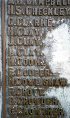 The War Memorials Names On Matlocks Memorial Surnames K W