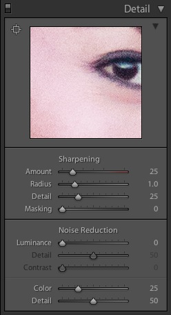 Default Lightroom high ISO noise reduction settings