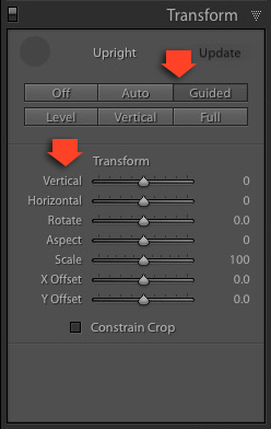 Lightroom Transform panel