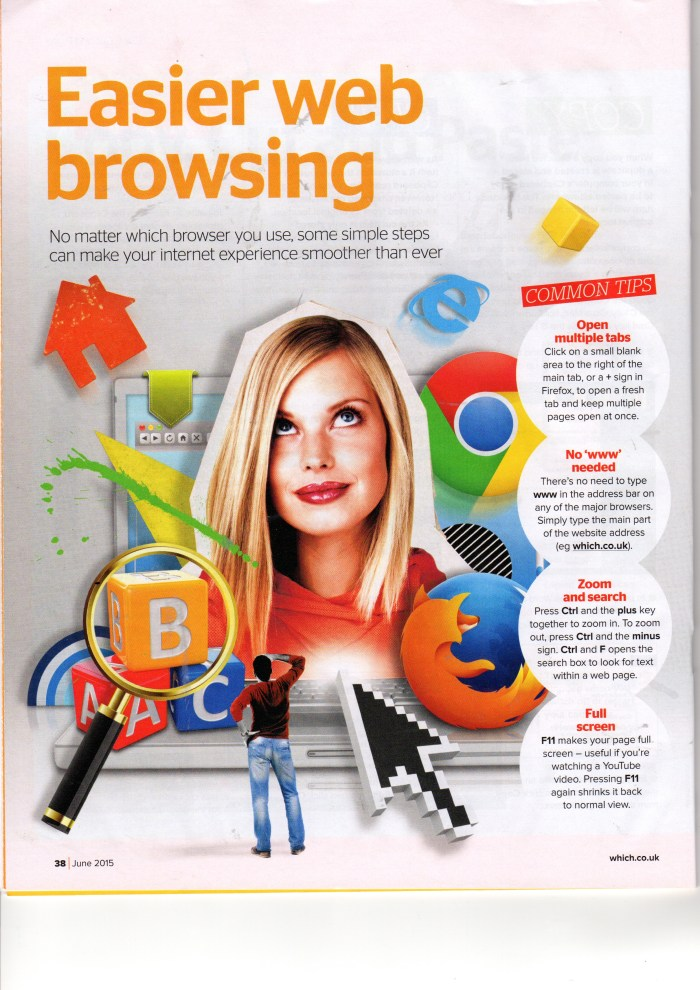 """Which? Computing Magazine June 2015,  """"Easier Web Browsing"""", p.1 1"""