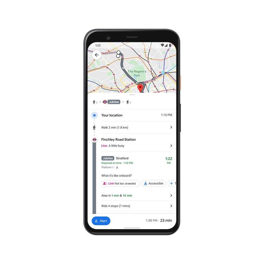 google maps muestra aglomeraciones en trasporte publico