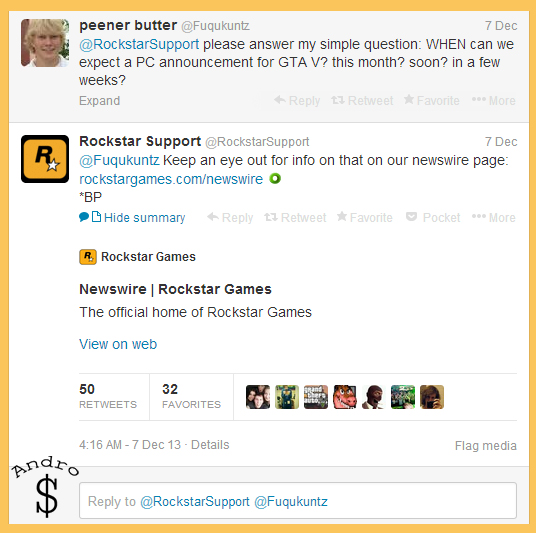 Rockstar hints about GTA V coming to PC Very soon