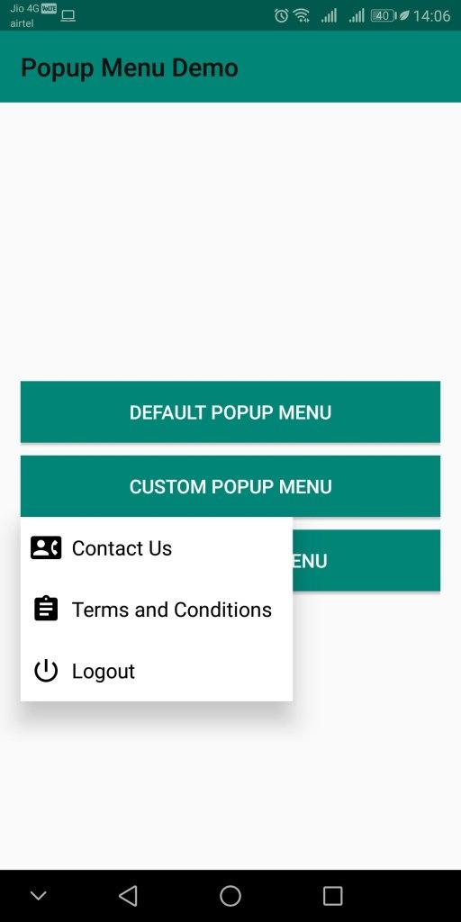 Custom Popup Menu with Icons