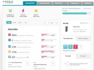 Das Fitbit-Dashboard im Web