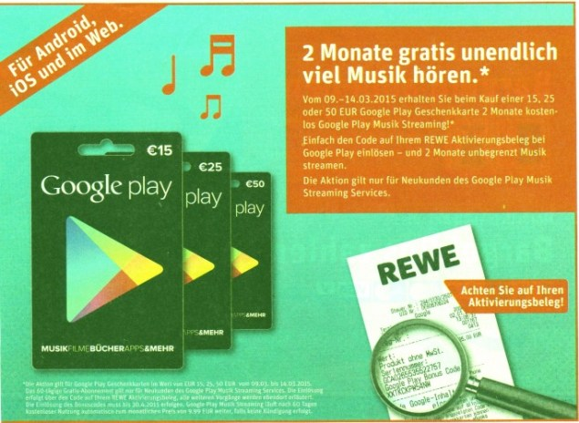 Google Play Musik Streaming angebot Rewe
