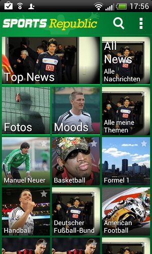 Favoriten-Sportarten oder sogar -Mannschaften im Blick bei Sport Mobiles
