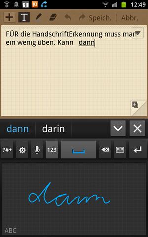 Handschrifterkennung auf dem Galaxy Note
