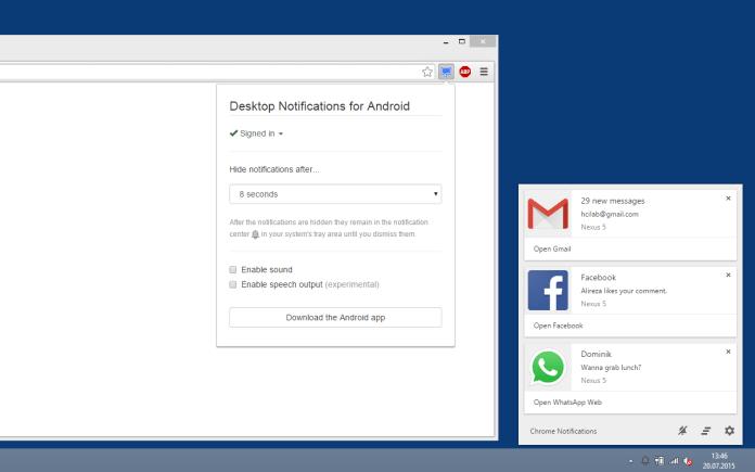 desktop notifications android