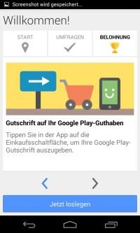 Google Umfrage-App  mit deiner Meinung neue Apps kaufen ...