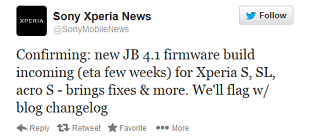 Android 4.1 for Sony Xperia S, SL, and Acro S