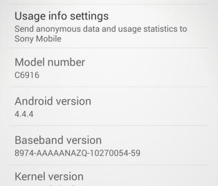 New Xperia Z1s Update