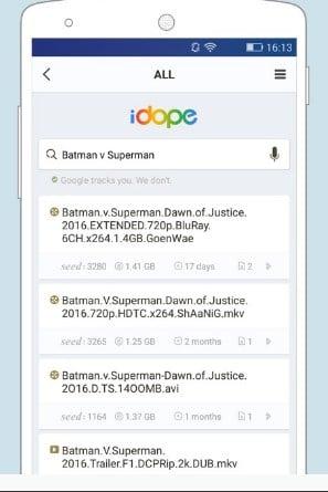 تطبيق البحث عن ملفات التورنت للاندرويد IDope
