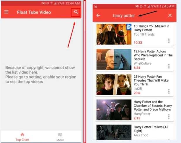 تطبيق Float Tube Vedio Player لمشاهدة الفيديو فى الخلفية