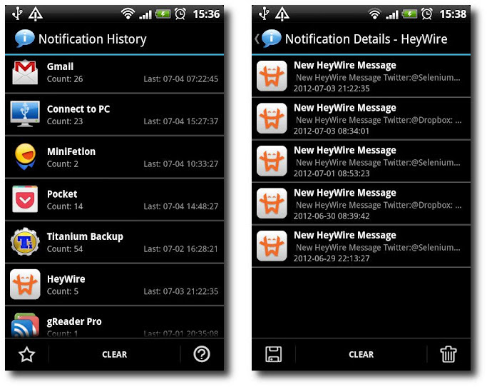 notification history record keeper