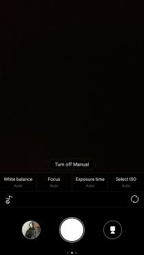 The Manual mode offers limited options
