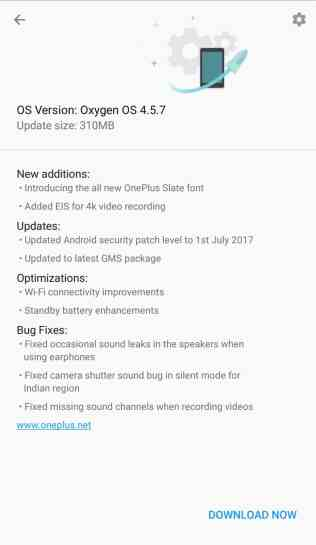 OnePlus 5 OOS 4.5.7