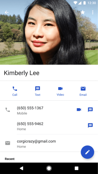 Google Contacts update