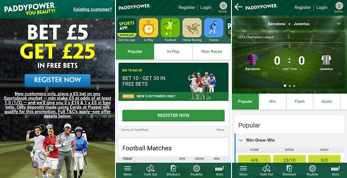 Paddy Power app on Android