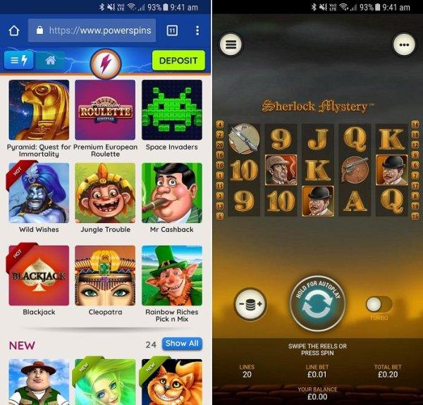 Power Spins app games choice