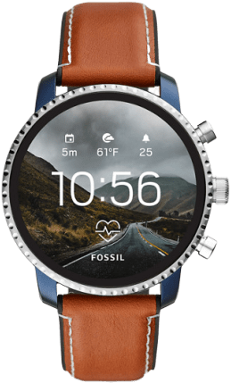 Fossil Explorist in silver, blue, and leather