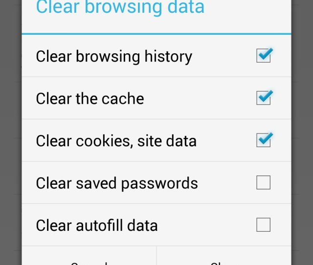Chrome Clear Browsing Data Options