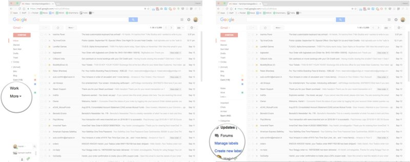 Create labels in Gmail