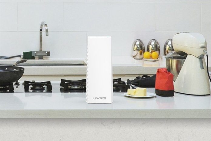 Linksys Velop on a counter