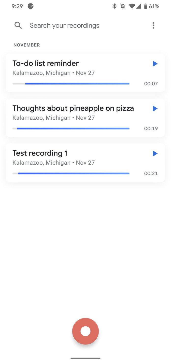 Pixel 4 Recorder app