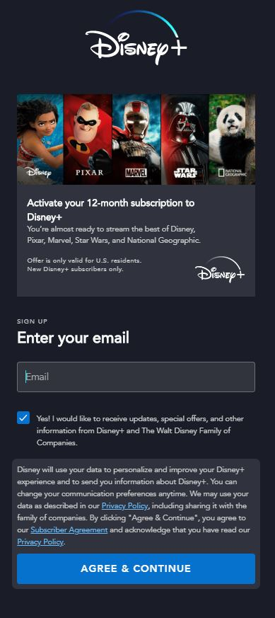 Conditions et services Disney Plus