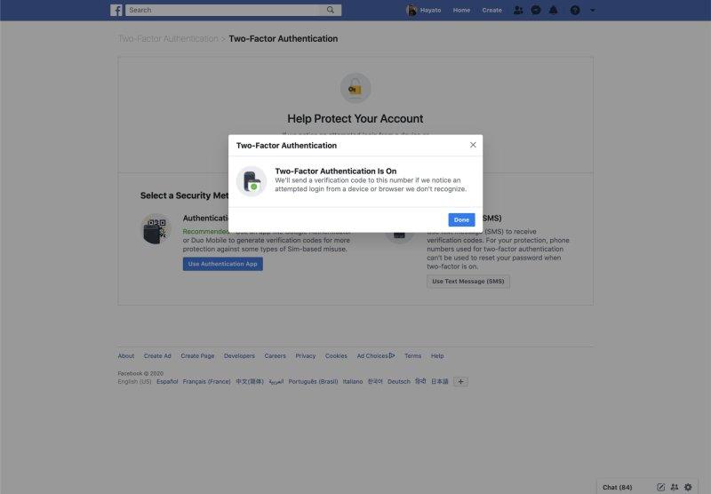 Configuration de l'authentification Facebook à deux facteurs