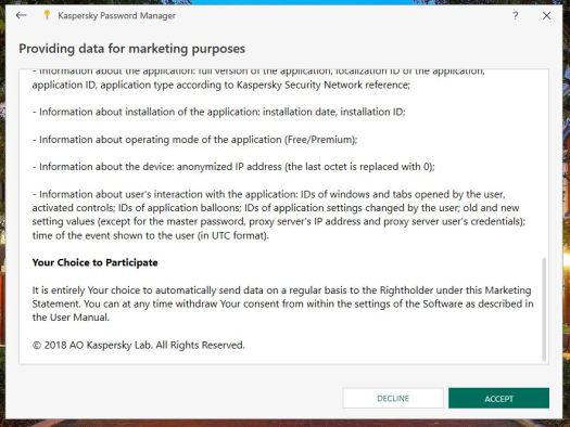 Kaspersky Marketing Data Sharing Program