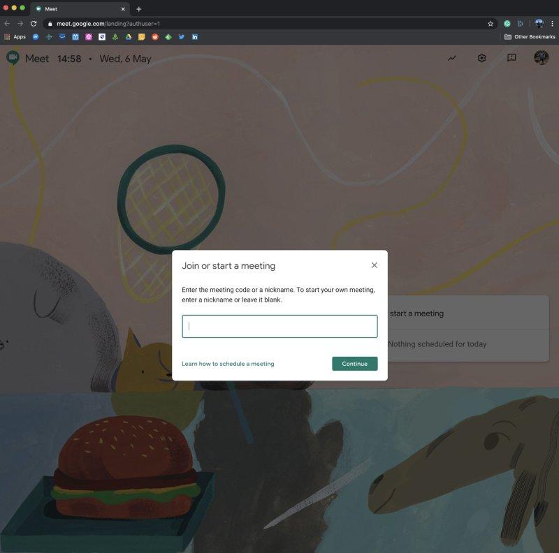 Google Meet Code - G Suite account user