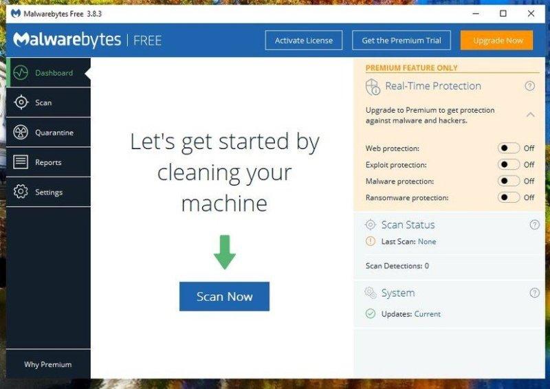 Malwarebytes Free Antivirus 2020 Dashboard