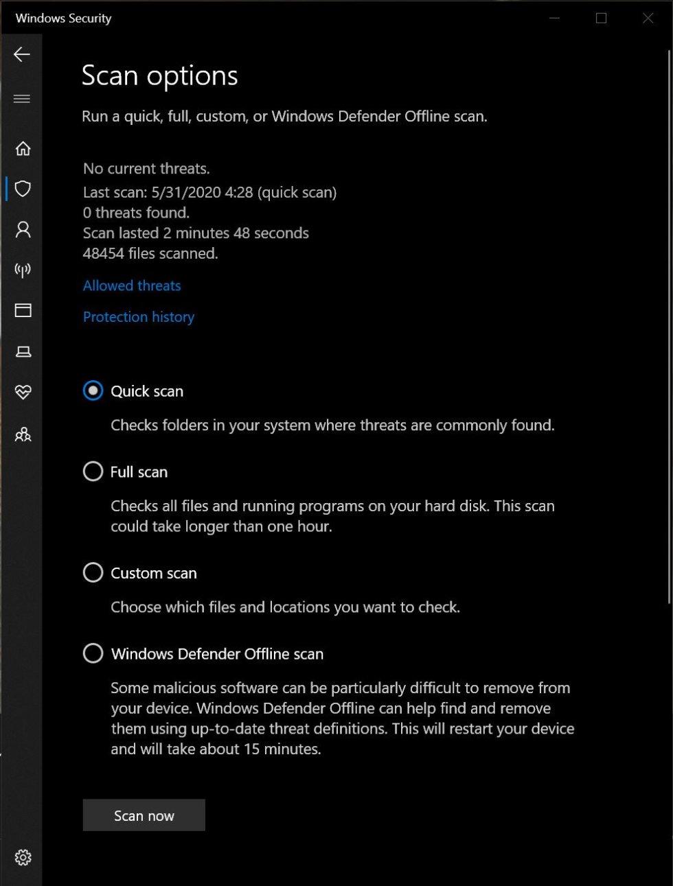 Windows Defender Scan Options Screenshot