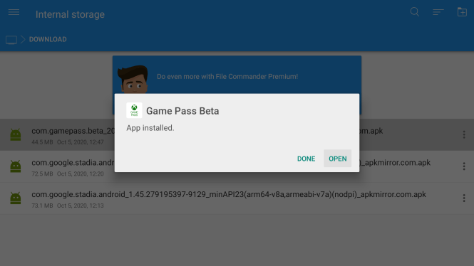 Downloading Game Pass on Android TV