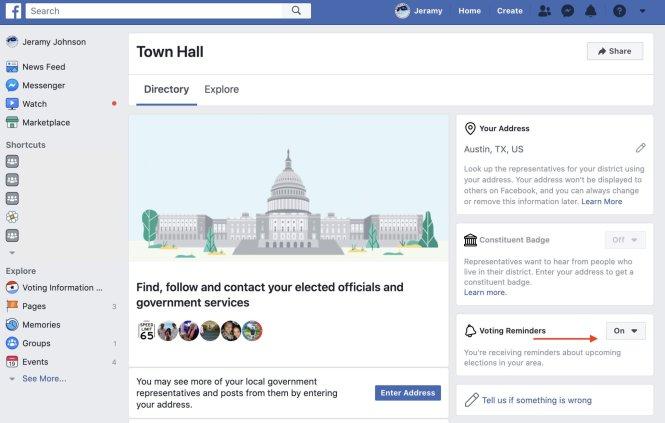 Turn off election reminders Facebook Desktop 2