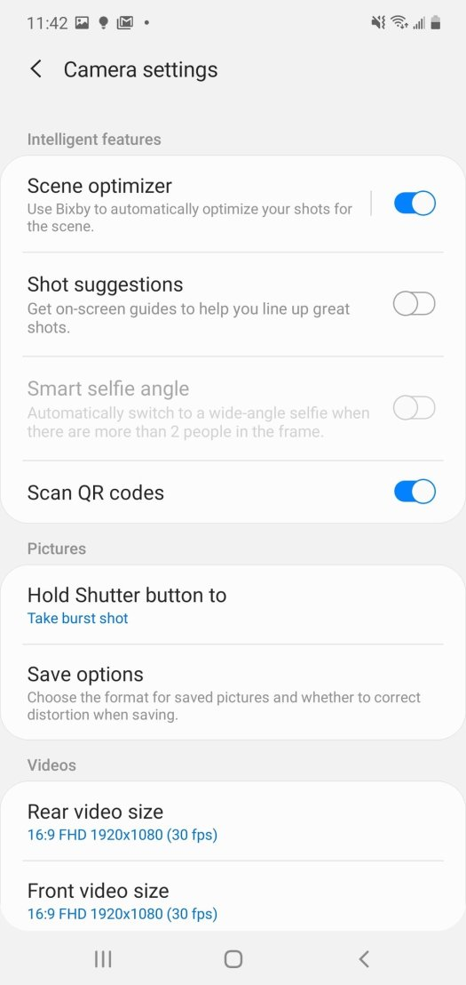 Samsung Camera App Settings Step 1