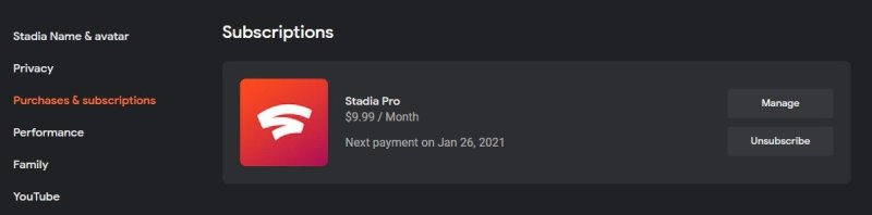 Stadia Pro Unsubscribe Manage Account