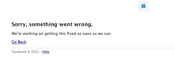 Facebook Website Down