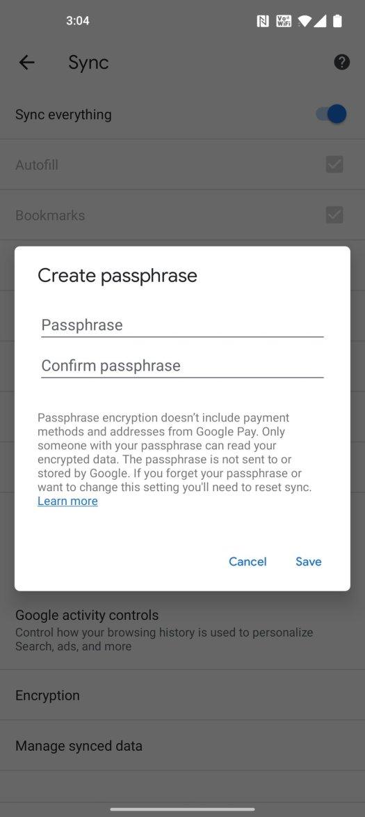 Mobile Chrome Sync Passphrase Ss