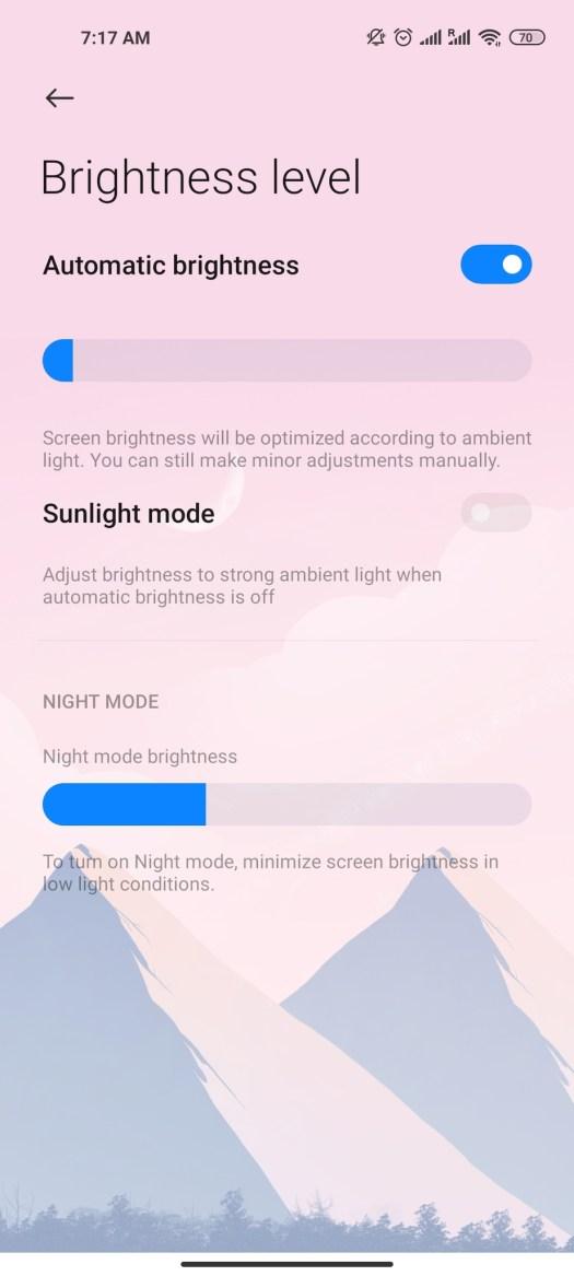 Android 11 Brightness Settings