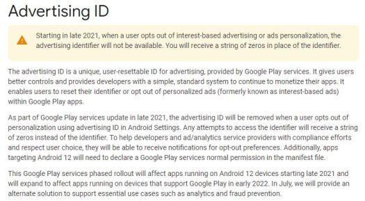 Google Advertising Id Change Notice