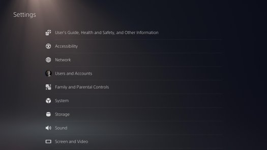 PS5 settings page