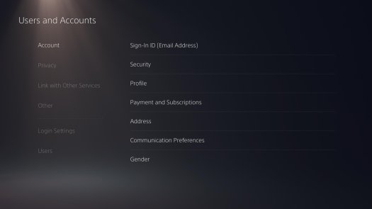 PS5 users and accounts page