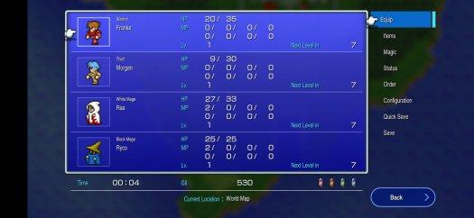 Final Fantasy Pixel Remasters Character Screen