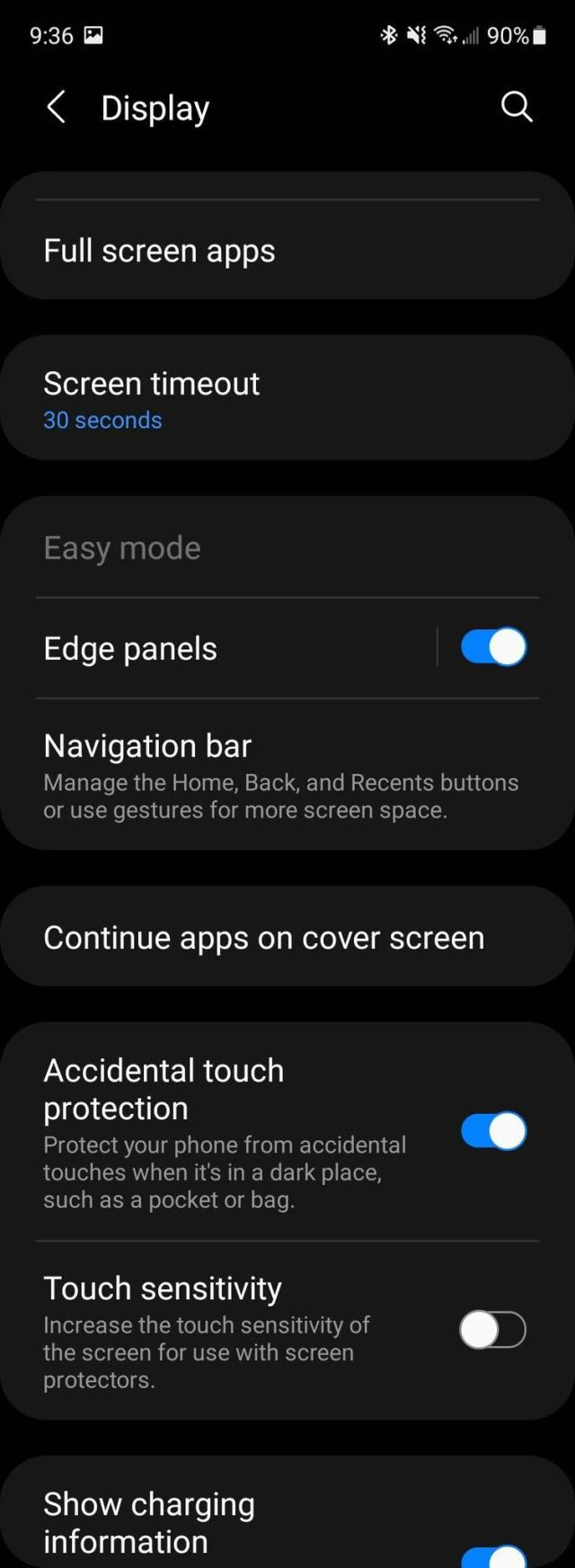 Samsung Galaxy Z Fold 3 Settings Screenshot