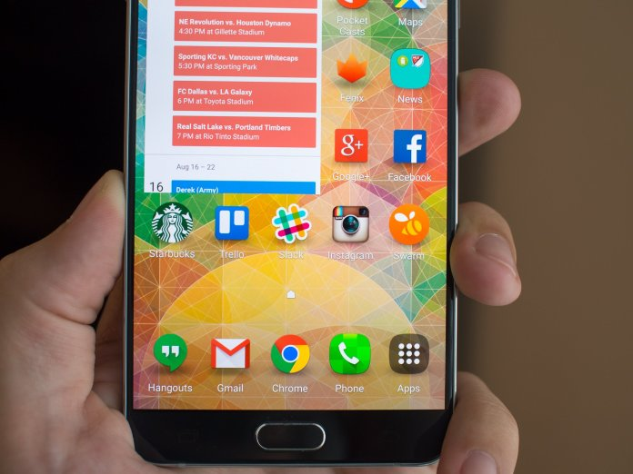 Galaxy Note 5 launcher close-up