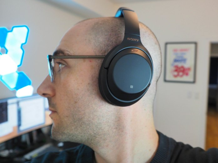 Wearing the Sony WH-1000XM3 headphones