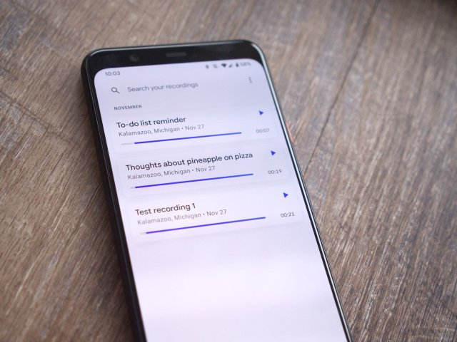 The Recorder app on a Pixel 4 XL